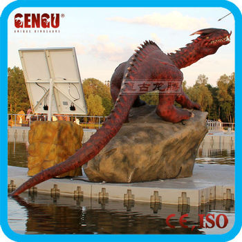 Red dragon statue outdoor