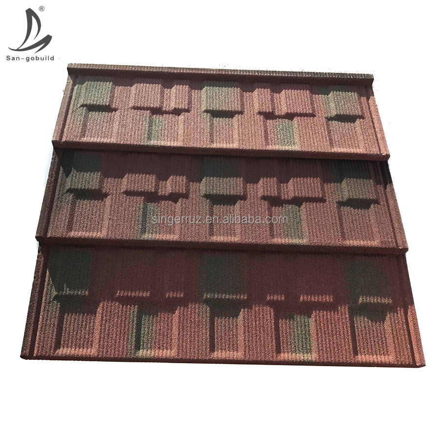 Hot Area Roofing Materials Heat Insulation Roof Sheet, no leakage Interlock stone coated metal steel roof sheet