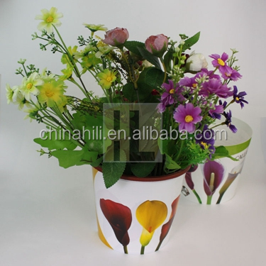 Folding plastic garden Printing plant pot cover, Flower customed printed decorate plastic plant pot Wraps/sleeves
