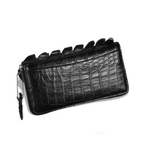 New style black single zip Long fashion men's Custom slim mens crocodile leather wallet