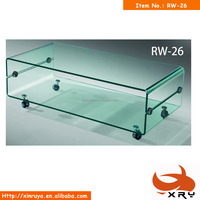 double-deck glass dining room coffee tables with wheels