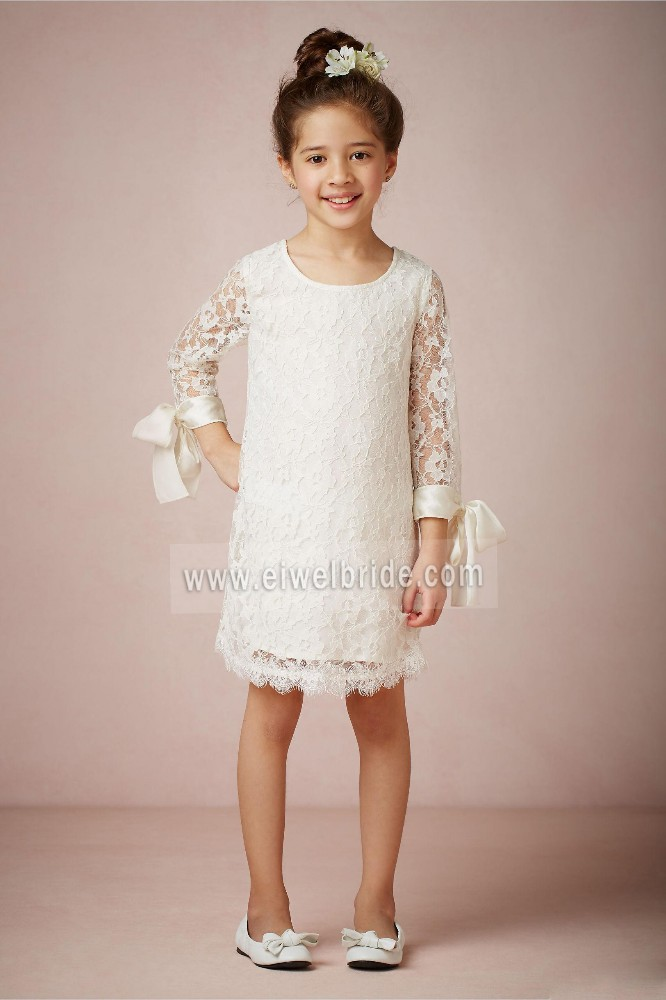 S1280 Amazing scoop knee length white lace flower girl long sleeve dress