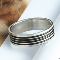 Handsome man jewelry steel ring with black circle, stainless steel gay man ring blanks