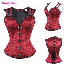 China factory sexy black red bule busty steampunk corsets for women