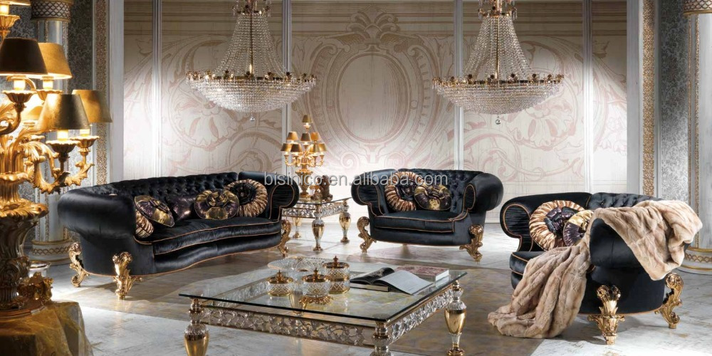 Royal Black And Gold Charming Living Room Furniture Sofa Set Classical Chesterfield Sofa Set