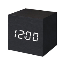 Digital Wooden Alarm Clock with LED Light Modern Cube Displays Date Temperature for Home Office Usage