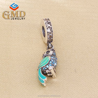 Hight quality products custom jewelry handcrafted 925 silver parrot charm