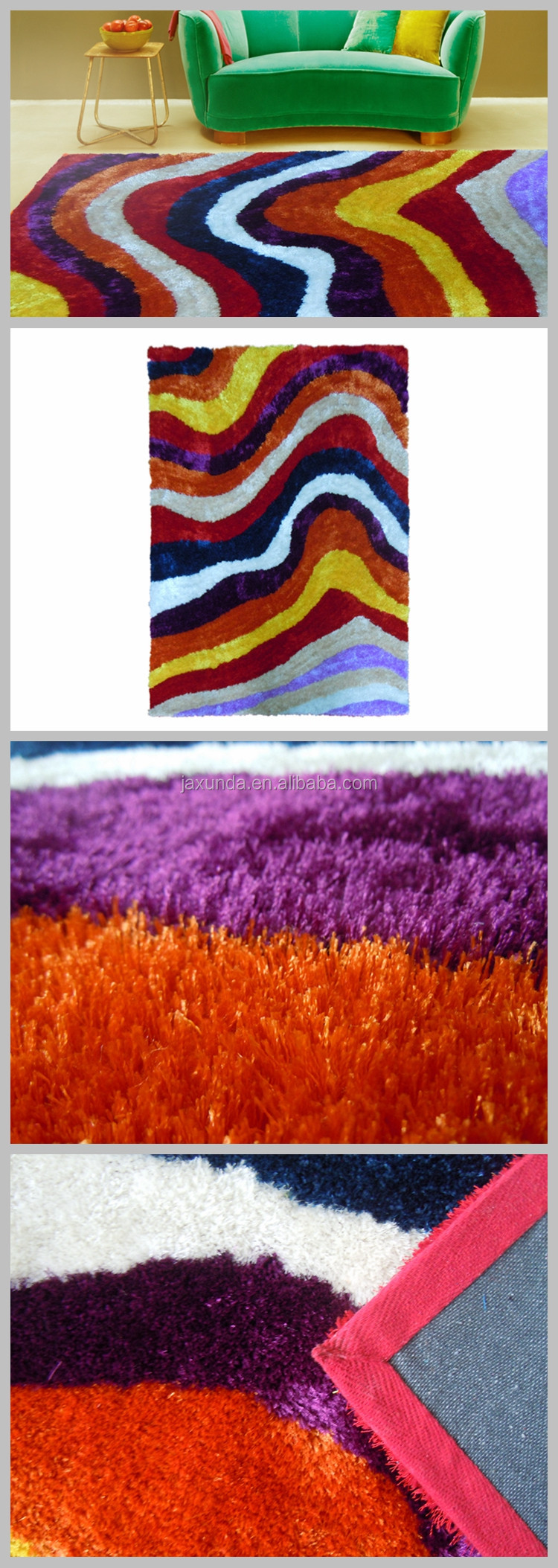100% polyester colourful rainbow Ultra soft surface High pile shaggy carpet for home