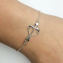 LYB0061 Adjustable Heart and Arrow Bracelet in Sterling Silver