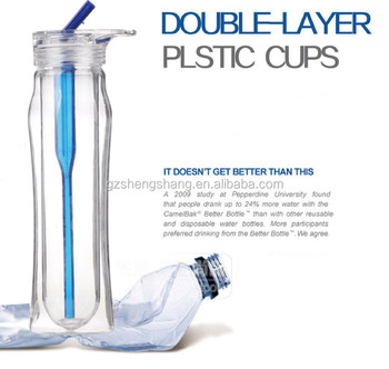 2016 New Fashion Design Double Wall Plastic Water Bottle With Straw