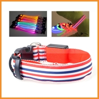 Lovely Colorful Stripe Light Up LED Pet Cat Dog Collar For Small Medium Large Dogs