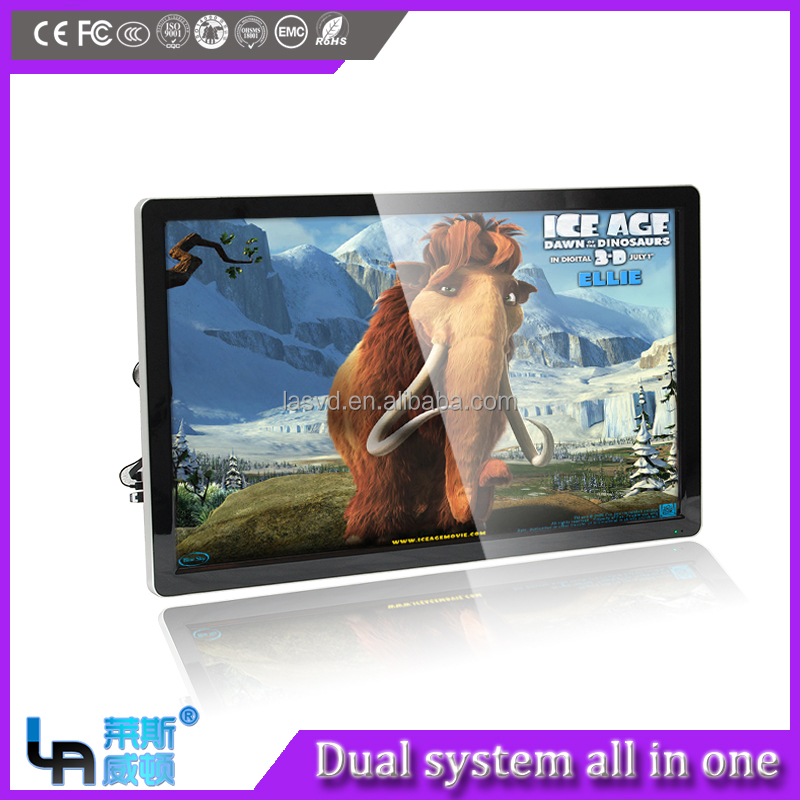 55 inch guangzhou interactive whiteboard i3 computer and Android Dual System smart all in one pc, large size all in one computer