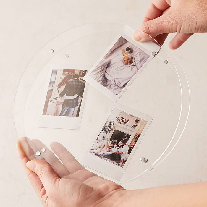 Custom Simple Design Circle Clear Magnetic Acrylic Frame for multi picture