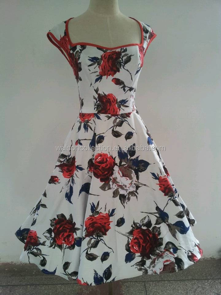 Floral summer evening dress plus size 1950s Swing dress 50s prom dress with cap sleeve