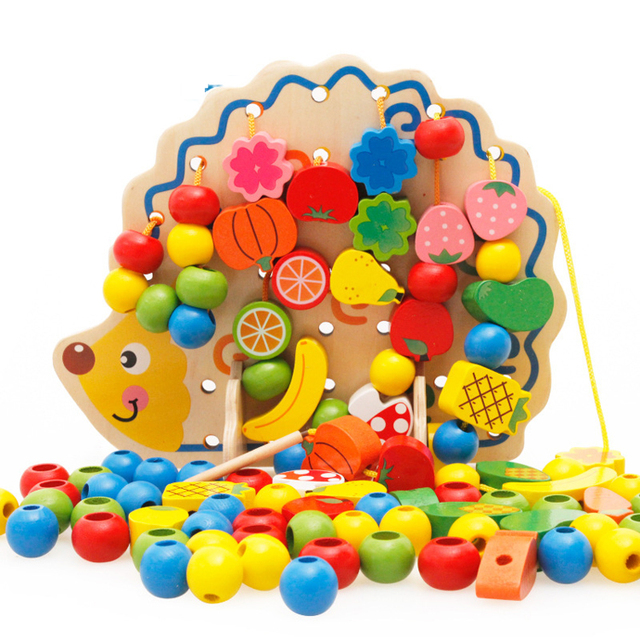 Amazon best selling hedgehog stringing different kinds of fruit bead maze toy