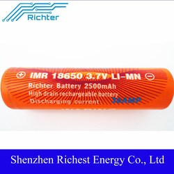 36AMP dry car battery factory in ShenZhen lithium battery imr18650 2500mah 3.7v battery