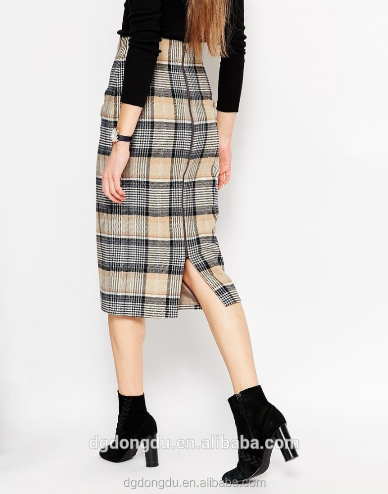 Wholesale Korean Style Latest Women plaid Denim Skirt China Manufacturer High Waist Mini Skirt /Knee Length Grid Pencil Skirts