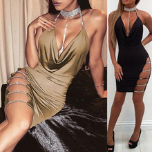 2018 New Arrival Womens Sexy Deep V Neck Pleated Asymmetric Club Mini Dress Tunic Tops Wholesale