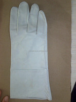 long leather welding glove protect hand glove best quality white color