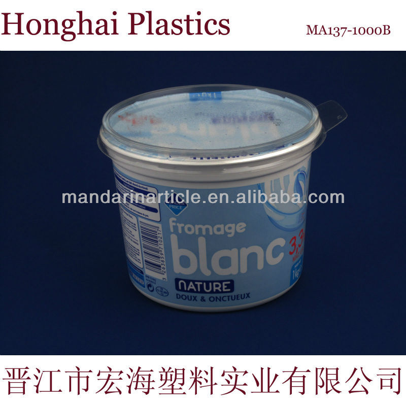 1000ml plastic ice cream container with lid