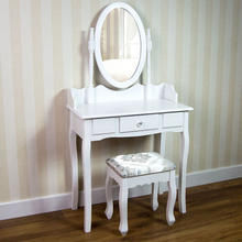 Antique style customized dressing table with mirror and stool