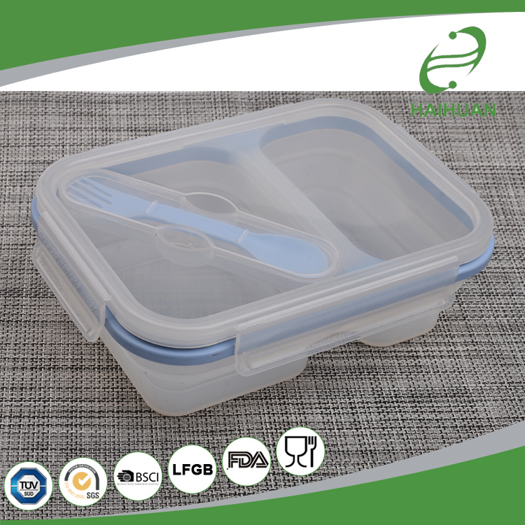 New Product Silicone Collapsible Container / Lunch Box 100% Food Grade Silicone, Nylon, PP Lunch Box Set