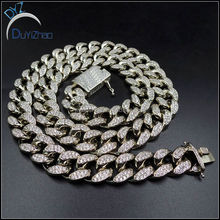 Mens Iced Out Hip Hop CZ Chain & Bracelet Mens Miami Cuban Necklace