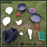 Backpacking Gear Camping Cookware Mess Kit Lightweight Cooking Equipment 10 Piece Cookset Durable Pot Pan Bowls with Nylon Bag