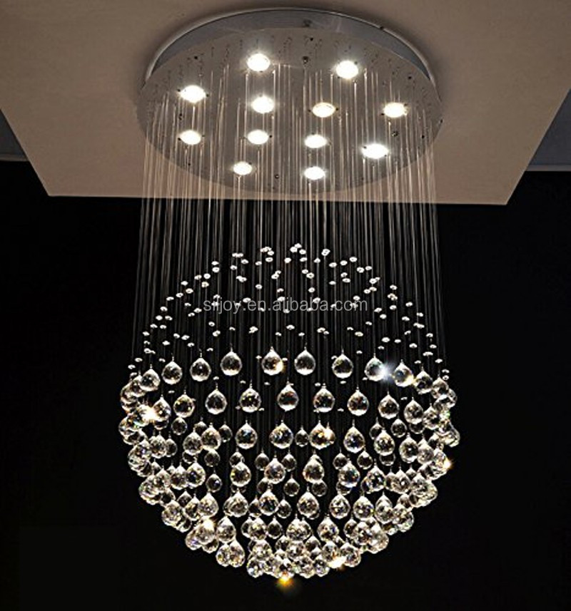 Modern Sphere Rain Drop Clear K9 Crystal Chandelier Light for Staircase