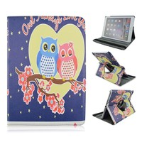 Owl Always Love You PU Leather Case For Apple iPad air 2,For ipad 6, Rotate Flodable Stand Tablet Case With Elastic Belt