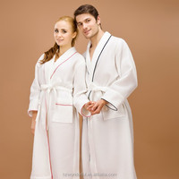 white shawl collar waffle bathrobe for sex woman night dress