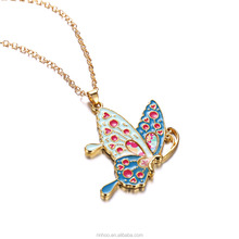 New style Fashionable alloy little dog necklace butterfly colorized dripping oil cat pendant necklace