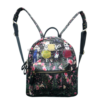 2016 Summer Best Sale Shool Bags for Girls Famous Pattern Floral Trendy Bags for School Teenagers Hipster Leather Backpack