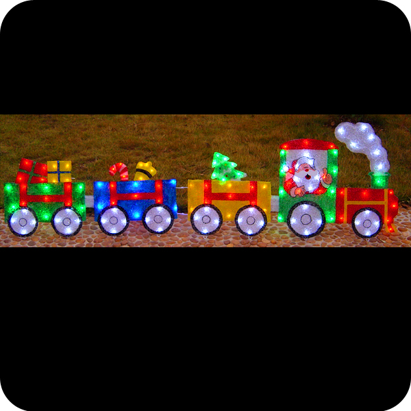 Lighted santa claus on train toy outdoor 2016 acrylic led cheap outdoor christmas decorations