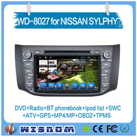 Wisdom for Nissan Sylphy car gps dvd player navigation system 2 din 8'' android in dashboard support audio radio multimedia 3g