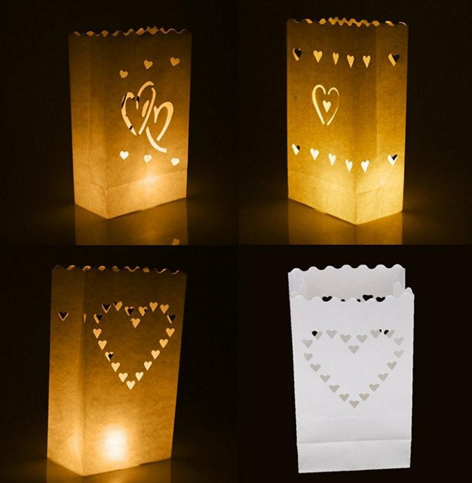 heart shape white Kraft paper bag lantern on light express love to your girlfriend