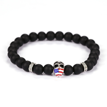 2017 New Cool Punk American Flag Skull Beads Bracelet 8mm Black Agate Matte Beads Bracelet Man's High Quality Jewelry