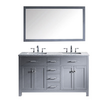 High End Grey lacquer solid wood bathroom vanity with Marbel top double sinks