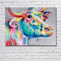 Abstract animal hand paint cow wall picture beautiful for wall decor oil painting canvas large size