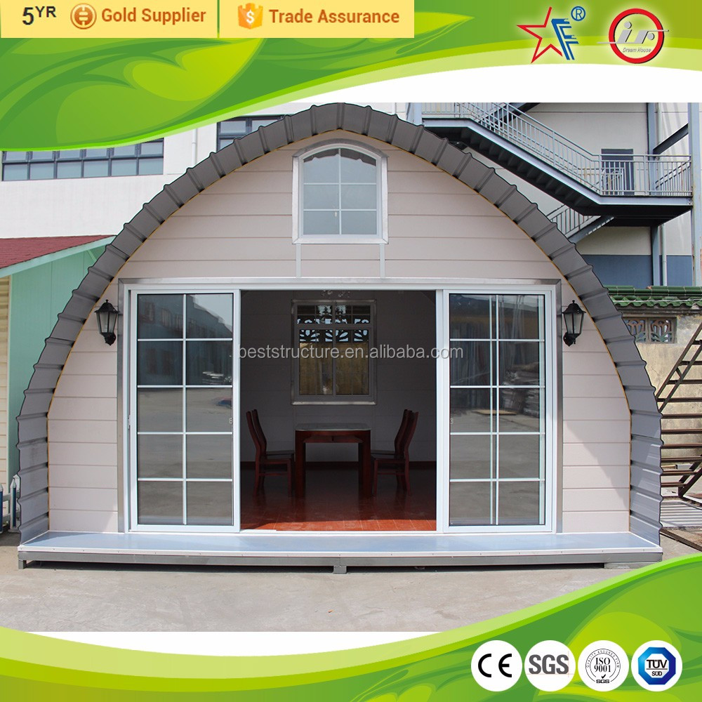 camping style light steel structural tiny house with arched roof/new style cheap arched cabin houses /prefabricated tiny homes