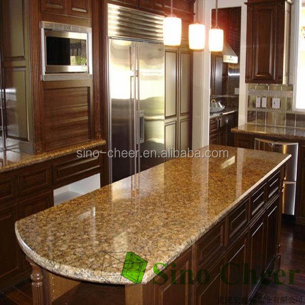 Popular Materials Golden Kitchen Granite Stone Island Tops