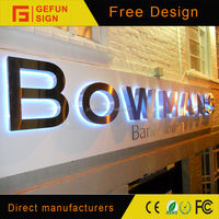 Mirror Polished Stainless Steel Backlit lighted logo letter Signs