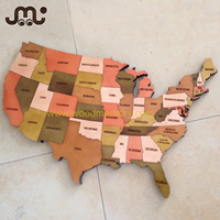 Decorative separated states wooden USA map