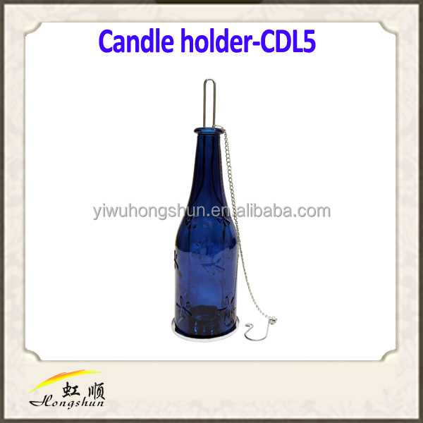 Wholesale Hanging wine bottle tealight candle holder for wedding decoration