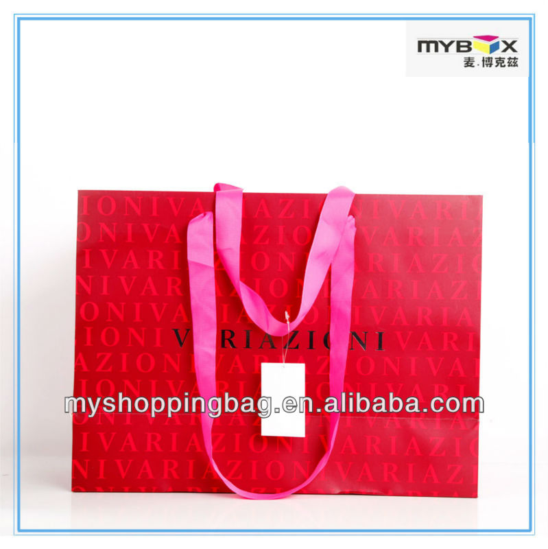 RED Colored paper gift bag with ribbon handles