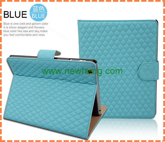 High Quality Gird Pattern For Ipad 2 3 4 Luxury Leather Case