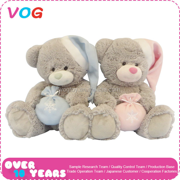 New hot handmade sitting stuffed toys plush hat bear with pocket kids christmas toy