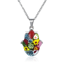 Hot Selling Custom Fashion Stainless Steel Murano Glass Pendant