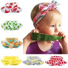 BC329 New hot summer fruit series of children's elastic rabbit ears headband watermelon newborn baby knot headwrap hair band