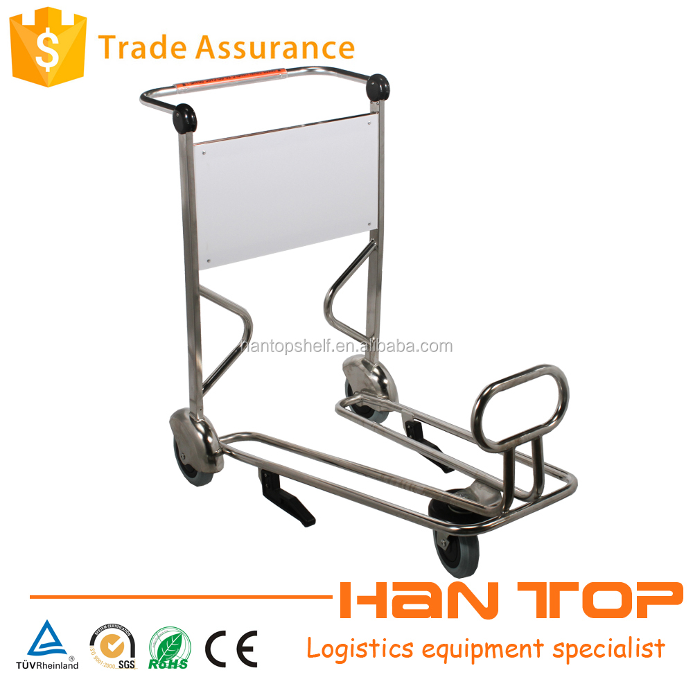 Stainless steel four wheel trolley for airport with handle brake HAN-AT17 1565
